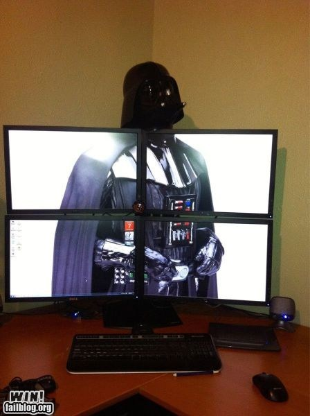 clever computer darth vader desktop monitors nerdgasm wallpaper - 5531639808