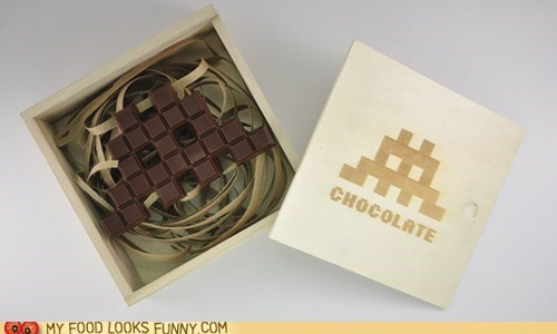chocolate,pixelated,space invaders