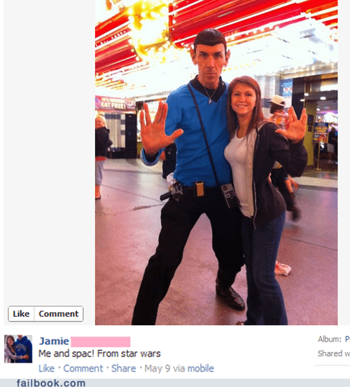 facebook failbook g rated image mage oops really Spock Star Trek star wars
