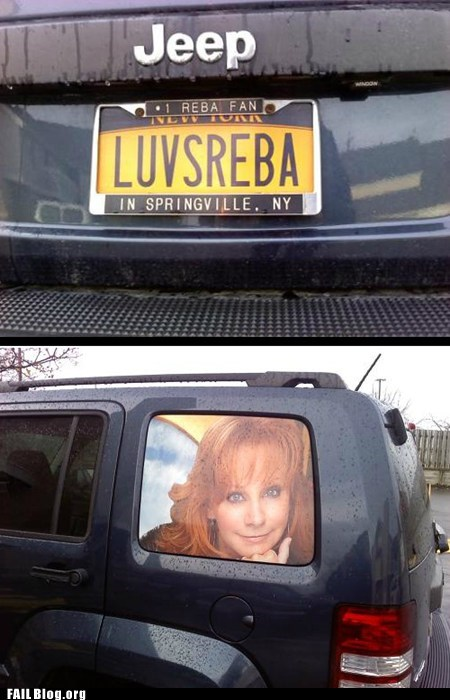 license plate,reba mcentire,stalker,wtf