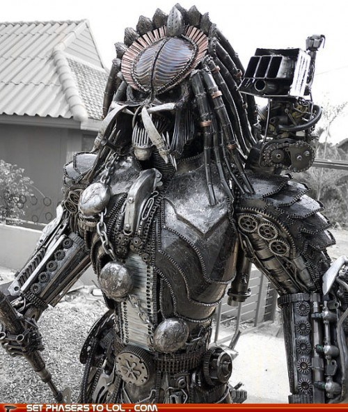 Badass,gears,Predator,sculpture,Steampunk