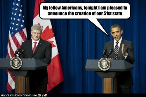 america,barack obama,Canada,political pictures,stephen harper