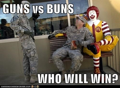army McDonald's political pictures soldiers