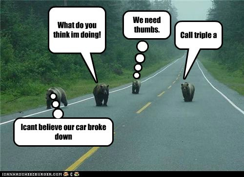 Call triple a What do you think im doing! Icant believe our car broke down Cleverness Here We need thumbs.