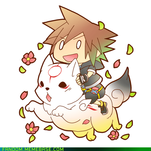 amaterasu,crossover,Fan Art,kingdom hearts,Ōkami,Sora