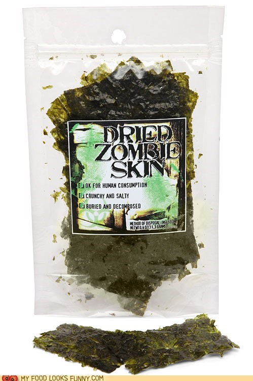 flaky green gross seaweed snack zombie skin