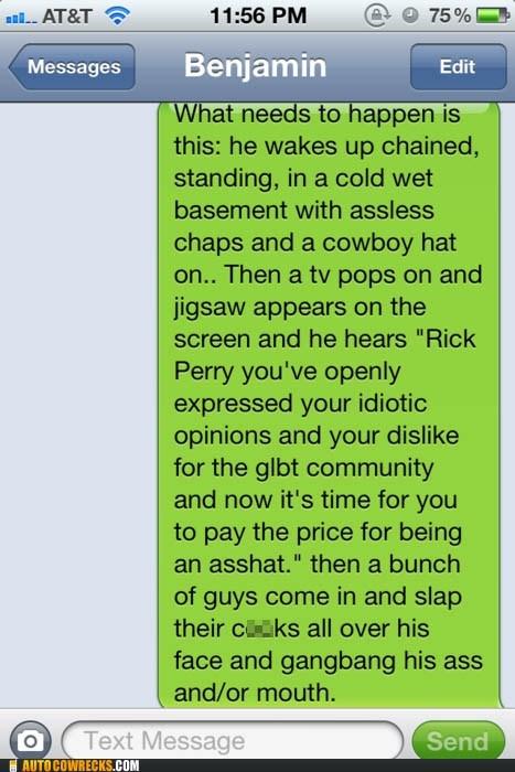 gay homophobia homosexual LGBT politics Rick Perry vengeance - 5535603712