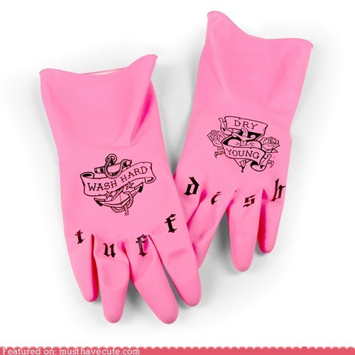chores dishes gloves kitchen rubber tattoos tough - 5535604224