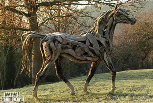 animals art design horse model repurposed sculpture wood