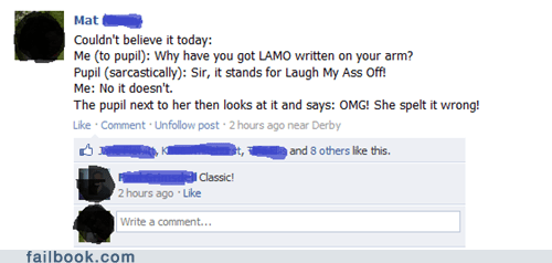 education facepalm failbook g rated lmao school spelling tattoo teacher - 5536032256