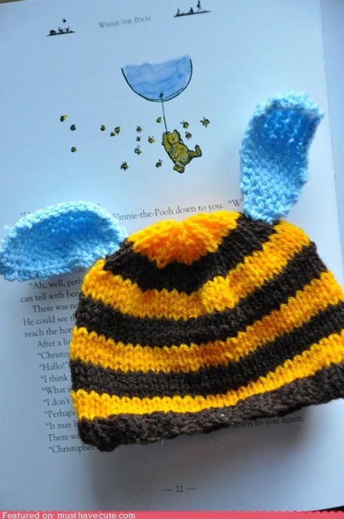 bee cap hat stripes wings winnie the pooh - 5536075264