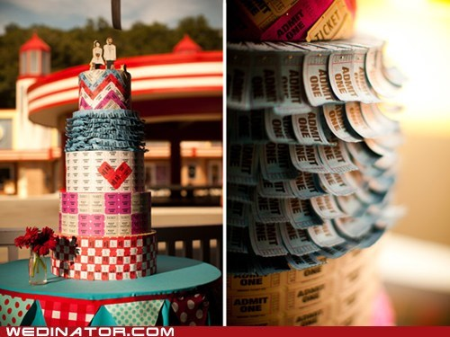 cake,Carnival,funny wedding photos,raffle,tickets,wedding cake
