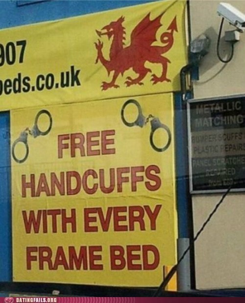 bed frame,deal,dirty,handcuffs,sexy times,We Are Dating