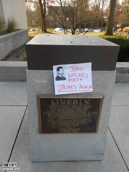 abraham lincoln,crime,john wilkes booth,note,response,statue,stealing,theft,vandalism