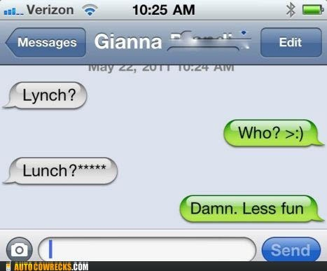 auto correct lunch lynch racism
