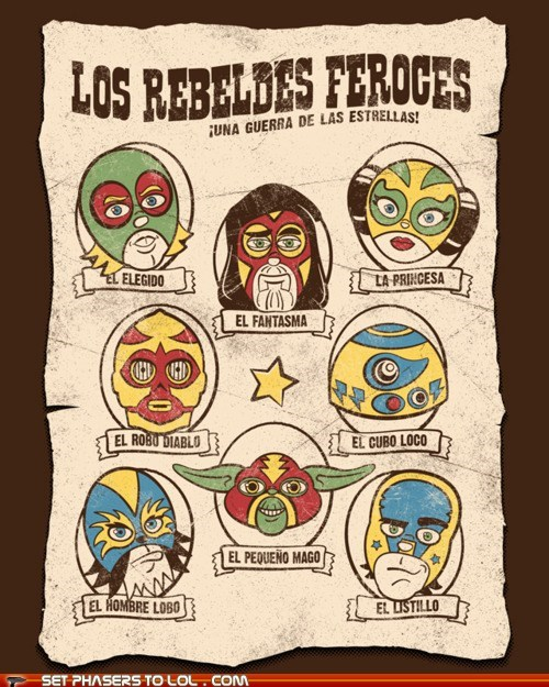 c3p0,Han Solo,luchador,mexican wrestling,Princess Leia,r2d2,rebel alliance,star wars,yoda