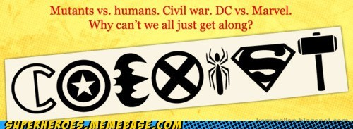 co exist,DC,fight,marvel,superheroes,Super-Lols