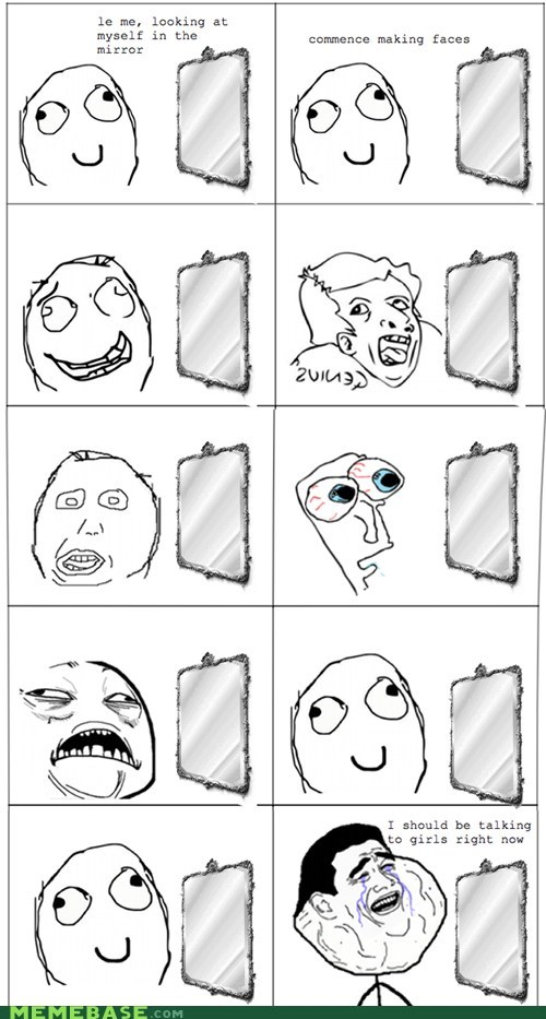 derp,faces,forever alone,mirror,Rage Comics