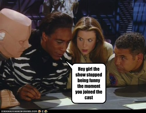 cast,dave lister,funny,girl,kristine kochanski,kryten,red dwarf,show,the cat