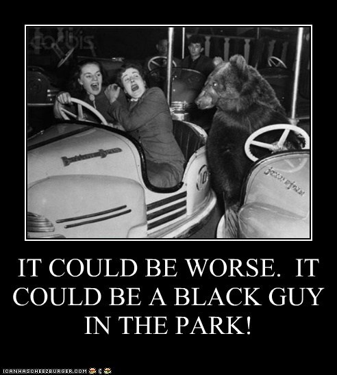 IT COULD BE WORSE. IT COULD BE A BLACK GUY IN THE PARK!