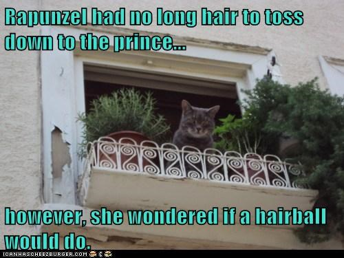 Rapunzel had no long hair to toss down to the prince... however, she wondered if a hairball would do.