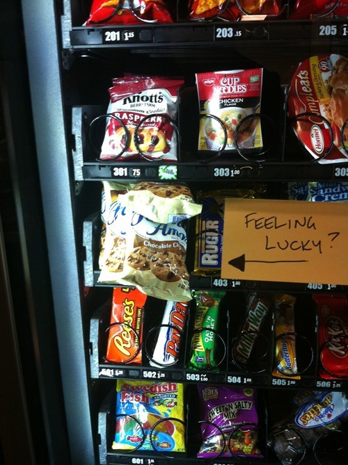 are you punk Clint Eastwood famous amos feeling lucky vending machine