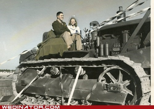 army,bride,funny wedding photos,groom,Hall of Fame,Historical,retro,tanks,vintage,war