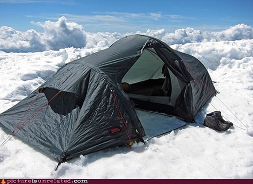 clouds snow tent wtf