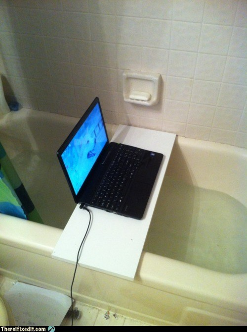 bad idea,bathroom,DIY,electricity,g rated,safety first,there I fixed it,water