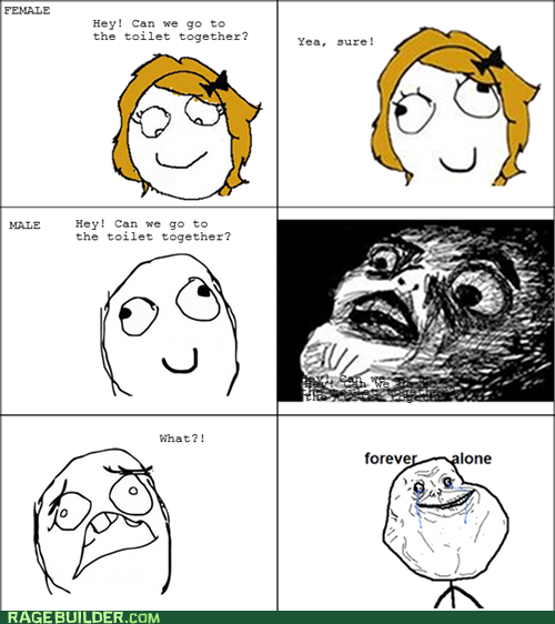 bathroom,forever alone,men vs women,Rage Comics