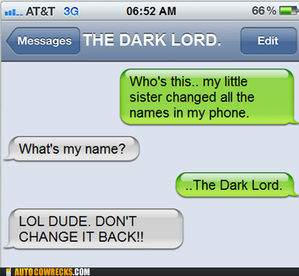 contacts dark lord darth vader Hall of Fame Harry Potter Lord of the Rings sauron star wars voldemort - 5540559104
