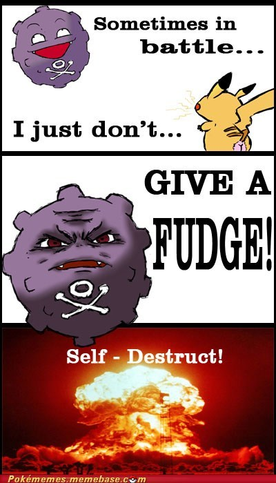 comic explosion give a fudge Koffing self destruct