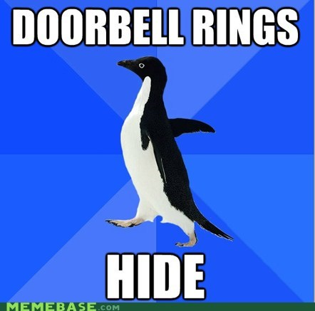 car,doorbell,driveway,hide,socially awkward penguin