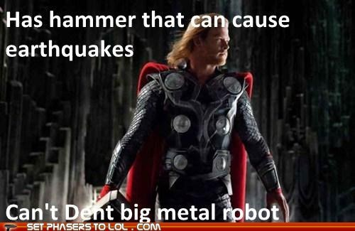 chris hemsworth,earthquakes,mjolnir,robot,scumbag,Thor