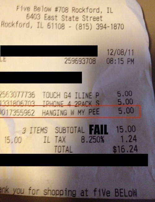 looks like receipt urine - 5541636096