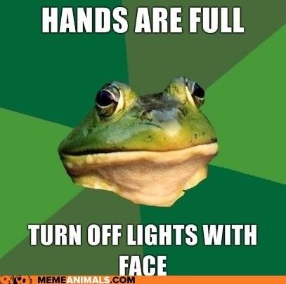 face,foul bachelor frog,frogs,gross,hands are full,lights,lightswitch