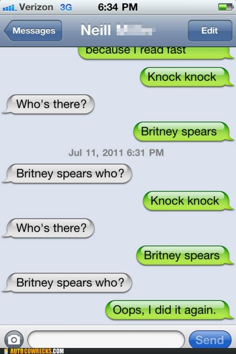 britney spears,Hall of Fame,joke,jokes,knock knock joke,oops i did it again