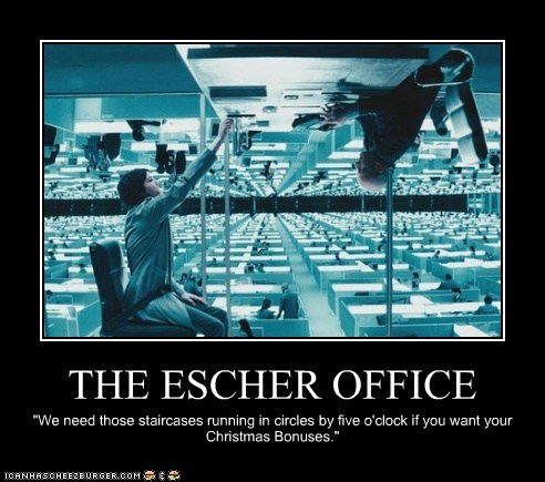 bonus christmas escher Kirsten Dunst Office staircase upside down