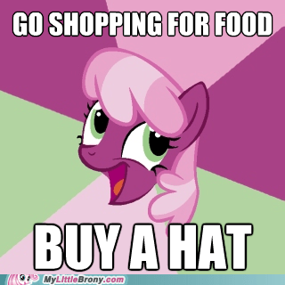 cheerilee,food,hat,meme,shopping