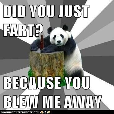 blown away,farting,farts,flirting,gross,panda,Pickup Line Panda