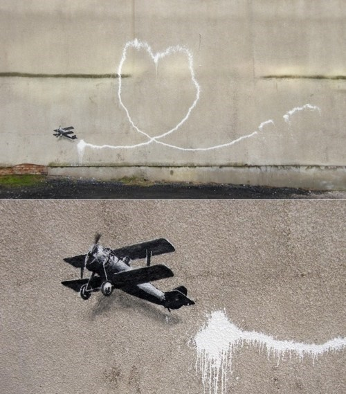 banksy,Biplane Loveheart,Street Art