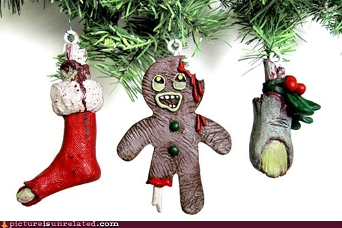 christmas decorations,christmas tree,ginger bread,wtf,zombie