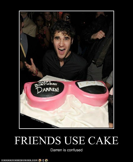 FRIENDS USE CAKE Darren is confused