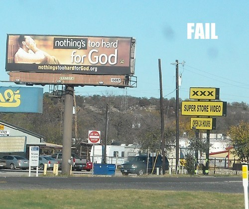 billboard,innuendo,juxtaposition,p33n,religion