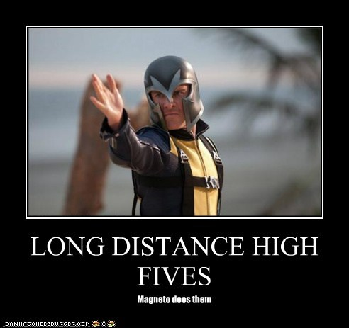 high five,long distance,Magneto,michael fassbender,x men