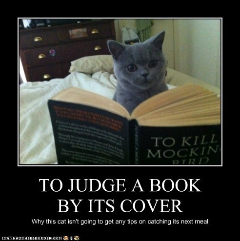 TO JUDGE A BOOK BY ITS COVER Why this cat isn't going to get any tips on catching its next meal
