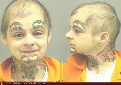 eyebrows,fake eyebrows,prison,tatoos,wtf