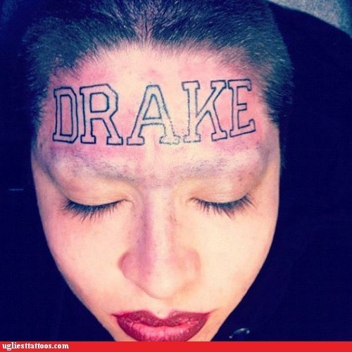 Drake,face tats,forehead,g rated,musician,musicians,names,tattoos,Ugliest Tattoos,why,words