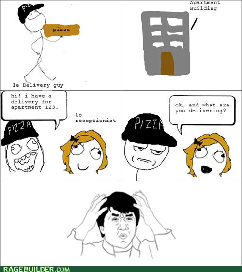 delivery,pizza,Rage Comics,receptionist
