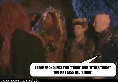 "I NOW PRONOUNCE YOU ""THING"" AND ""OTHER THING"". YOU MAY KISS THE ""THING""."